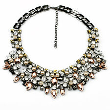 N1524 New Fashion Chokers Black Mixed Crystal & Pearl Statement Collar Necklace