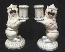 Pair C19th Lion Continental Porcelain Candlesticks - Very handsome!