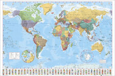 MAP OF THE WORLD POSTER COLOUR CODED COUNTRIES AND FLAGS OF THE WORLD GN0214