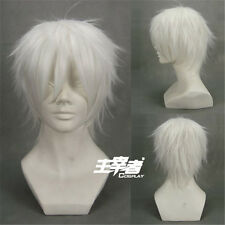 Future City No.6 Shion silver White Short Anime Cosplay Costume Wig + Free NET