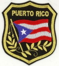 """Cheap Lot of 100 PUERTO RICO Flag in Shield Embroidered Patches 3.25""""x2.75"""""""