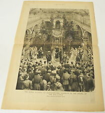 two page 1884 engraving ~ ROYAL WEDDING AT DARMSTADT old castle, Germany