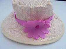 MY LIFE STRAW FEDORA HAT WITH PINK BAND FITS AMERICAN GIRL DOLL CLOTHES