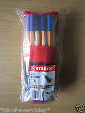 STABILO FINELINER 0.4MM TIP 25 ASSORTED COLOUR ROLLER PEN SET**NEW FREE P&P**