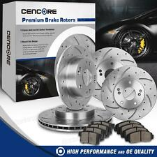 Front and Rear Drilled Slotted Brake Rotors & Ceramic Pads for 03-07 Accord V6