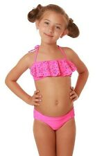 Girls Seafolly Summer Camp MINI TUBE 2pc bikini swim set 12 hot pink ruffle Kids