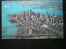 POSTCARD USA LOWER MANHATTAN SKLINE FROM THE AIR C1964