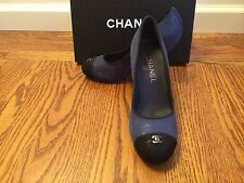 NEW CHANEL  Blue Logo Cap-Toe Classic Pumps, Shoes, Heels ,37.5