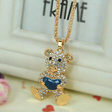Cute Love Heart Bear Sweater Bead Necklace Rhinestone Crystal Pendant Chain Gift
