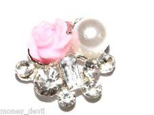 NEU Nail Art Nageldesign 3D Silber Rosa Rose Strasssteine Charm Overlay Edel