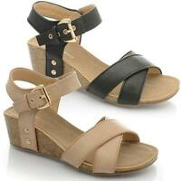 WOMENS LADIES SUMMER SANDALS STRAPPY LOW MID HEEL FLAT WEDGES BEACH SHOES SIZE
