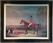 "Gentleman Fox Hunting with Dogs Canvas Painting, Beautifully Framed 29"" x 36"""