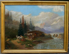 Reinhold Rehm (1877) Mountain landscape in the Alps with lake and farm animals.