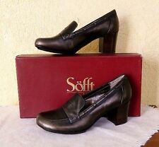 Sofft Marisol Leather Heels Loafers 10/42 Smog Metallic Retro Classic NEW