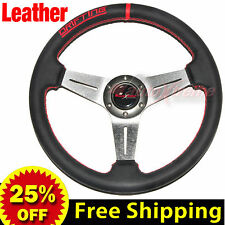 """350mm 14"""" LEATHER Drift Racing Rally Steering Wheel RED Stitch Universal TITAN"""