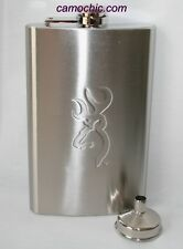 BROWNING BUCKMARK STAINLESS STEEL HIP FLASK 10 OZ WITH FUNNEL - HUNTING GIFTS