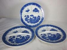 """3 Blue Willow Divided 3-Part Grill Dinner Plates Restaurant Ware 10-1/4"""" Japan."""