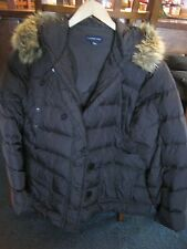 Lands' End Goose Down Coat with Hood and Faux-Fur Trim, Women's XL Brown