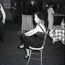 Beautiful Blond Girl Beret Hat Wire Chair Wine Bottle Vtg 1950s Negative Photo