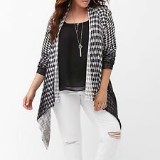 New Lane Bryant $60 Houndstooth Flyaway Cardigan Sweater Plus 26/28 4X