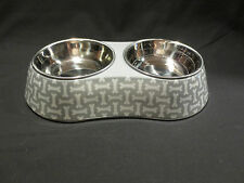Martha Stewart Pets Double Bowl Feeder Dog Cat Gray White Food Water Dishes