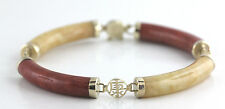 Red and Yellow Jade Bracelet 14K Yellow Gold Fortune Luck Asian