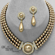 STUNNING CLASIC GOLD PEARL & CRYSTAL WEDDING FORMAL JEWELRY SET CHIC AND TRENDY