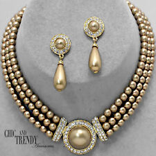 CLASSY GOLD PEARL & CRYSTAL WEDDING FORMAL NECKLACE JEWELRY SET CHIC & TRENDY