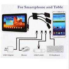 Convertidor Adaptador Extensor Cable Micro USB HUB2.0 3 Port to 1 OTG Negro