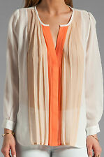Joie Silk Pleated Siden Ombre Blouse Women's XS Coral Flame Pale Dogwood
