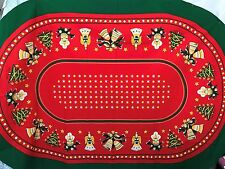 """Vintage Christmas Tablecloths Oval Heavy Weight  60"""" x90"""""""