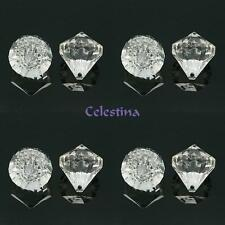 4 x Transparent Acrylic Pendants Faceted Diamond Clear 35x31mm Hole 3mm PB73