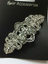 A Pretty Silver Open Flower Design Metal Barrette Hair Clip