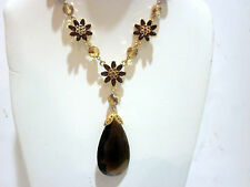 Women necklace pendant - faceted crystals beads faux pearls