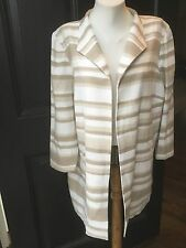New Chico's White Camel Modern Stripe Duster Length Jacket Sz 3 = L XL 16/18 NWT
