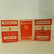 Lot of 3 Vtg Playing Card Sets Western Airlines Chrysler 302 Poker 303 Pinochle