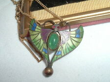 VINTAGE EGYPTIAN REVIVAL JADE CHAMPLEVE ENAMEL BUTTERFLY PENDANT NECKLACE