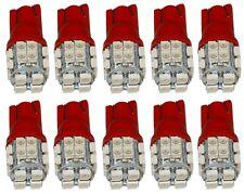 10x ampoule T10 W5W 12V 20LED SMD rouge veilleuses éclairage intérieur coffre
