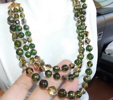 Marvella Emerald Olive Green Gold t Faceted Glass Plastic Choker Necklace 12b24