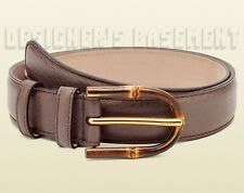GUCCI mauve 36-90 Brown pebble Leather BAMBOO logo engraved Buckle belt NWT Auth