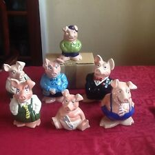 Natwest Piggybanks complete set plus Wesley Cousin Pig with original Stoppers