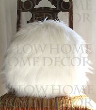 Round Fur pillow 16 inches decorative soft white fur linen cushion made in US