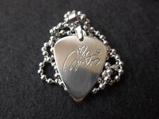 Britney Signature Hand carving Stainless Steel Guitar Pick Necklace