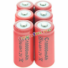 6x C size 1.2V 10000mAh Ni-MH Red Color Rechargeable Battery USA