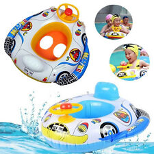 Cartoon Baby Swimming Seat Ring Kids Inflatable Car Pool Float Boat Swim Ring US