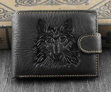 Mens Western Genuine Leather Wolf Head Snap Card Money Coins Wallet Black
