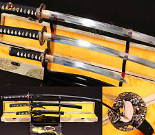 Japanese Samurai Sword SET(Katana+Wakizashi+Tanto)T10 Clay Tempered Sharp Blade