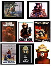 SMOKEY BEAR PHOTO-FRIDGE MAGNETS 2---- 8 IMAGES