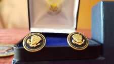 CUFF LINKS 24 K GOLD-PLATED PRESIDENT RONALD REAGAN PRESIDENTIAL BLUE COBALT