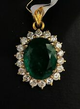 18k Solid Yellow Gold Cluster Pendant, Genius Natural Emerald 8CT& Diamond1.30CT